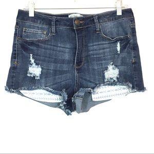 Mudd High Rise Shortie Denim Shorts Low Pockets